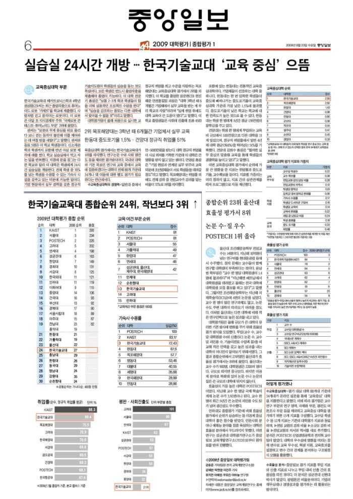 [중앙일보]실습실 24시간 개방...한국기술교대 '교육중심'으뜸